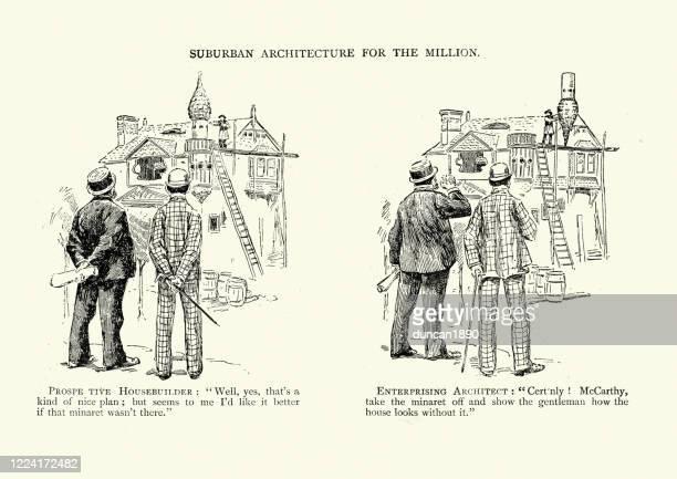 suburban architecture for the million, victorian humour and jokes - satire stock illustrations