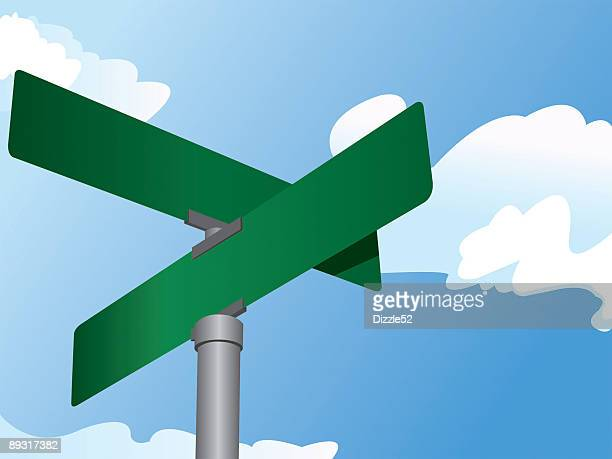suburban street signs on a cloudy, sunny day. - road intersection stock illustrations