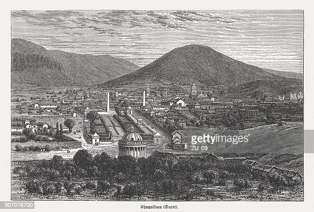 Sucre - Capital of Bolivia, wood engraving, published in 1882