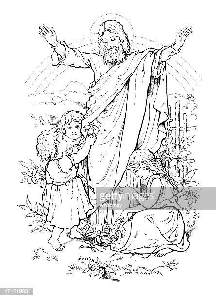 'Suffer the little children to come unto Me' Victorian drawing