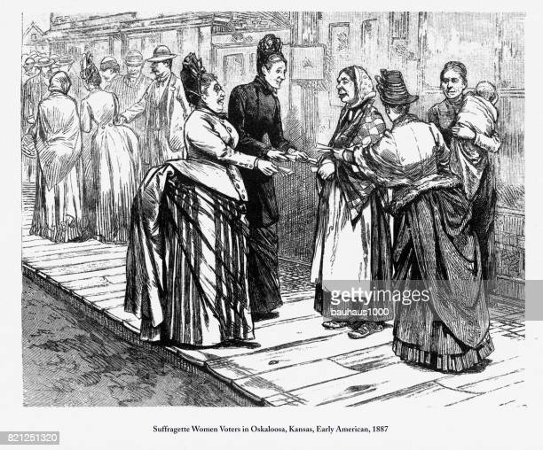 suffragette women voters in oskaloosa, kansas, early american engraving, 1887 - only women stock illustrations, clip art, cartoons, & icons