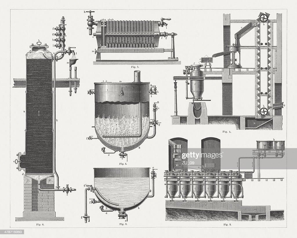 Sugar production, wood engravings, published in 1878 : stock illustration