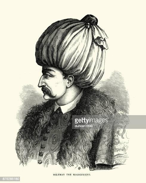 illustrations, cliparts, dessins animés et icônes de soliman le magnifique, sultan de l'empire ottoman - moustache