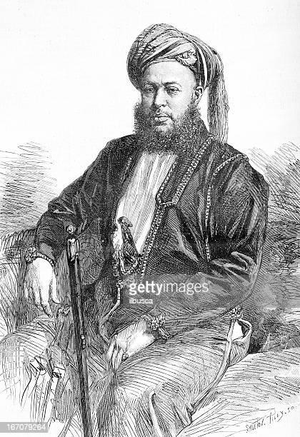 sultan of zanzibar s. a. barghash ben said - sultan stock illustrations