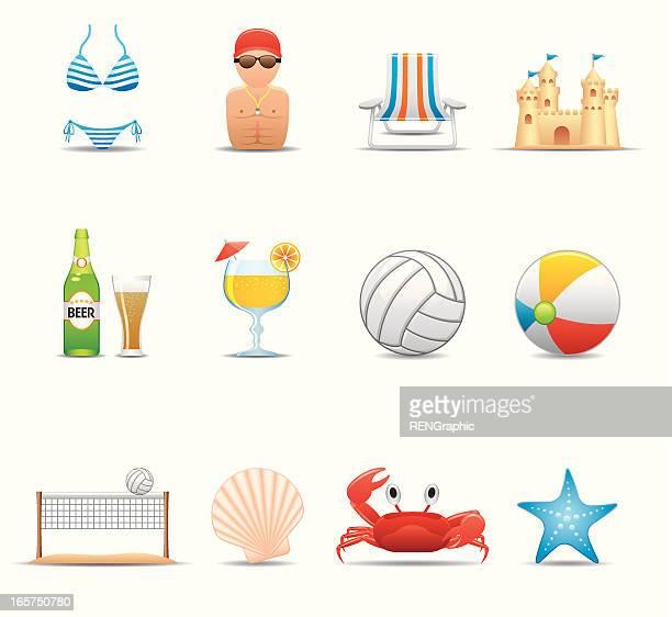 illustrations, cliparts, dessins animés et icônes de été plage & ensemble d'icônes élégante série / - crabe