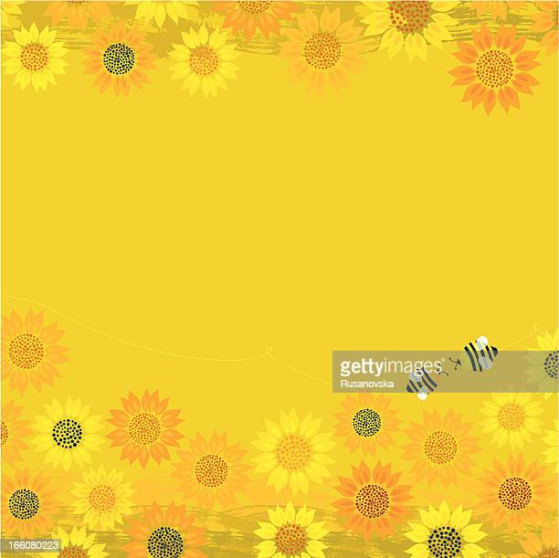 summer bees background - sunflower stock illustrations, clip art, cartoons, & icons