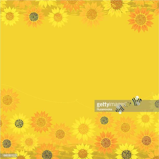 ilustraciones, imágenes clip art, dibujos animados e iconos de stock de fondo de abejas de verano - girasol