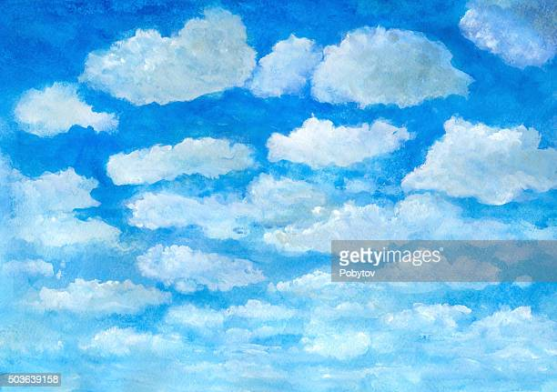 summer blue sky with clouds - watercolor background