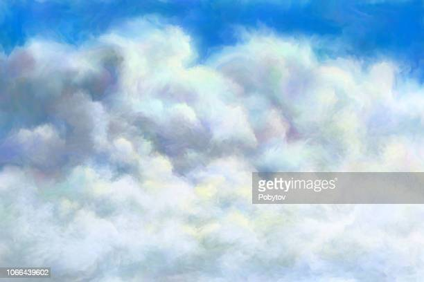 summer cloudy sky, oil painting - heaven stock illustrations