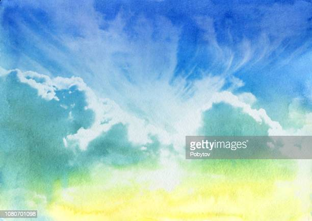 summer cloudy sky, watercolor painting - dramatic sky stock illustrations