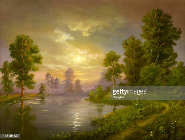 summer evening - landscape stock illustrations, clip art, cartoons, & icons