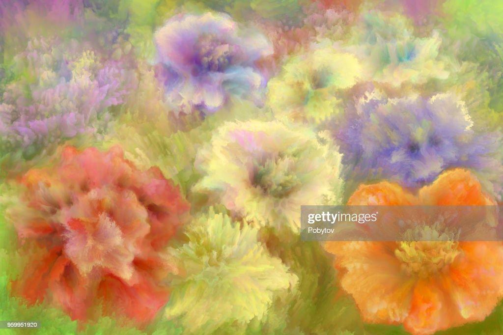 Sommerblumen, Ölgemälde : Stock-Illustration