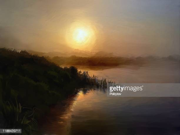 summer foggy morning, oil painting - oil painting stock illustrations