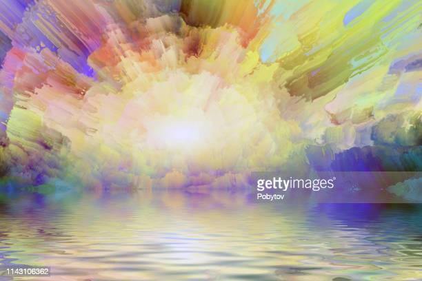 summer landscape, oil painting - impressionism stock illustrations
