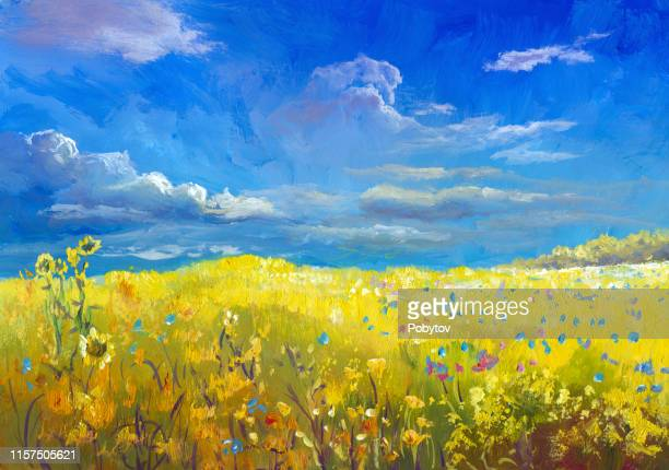 summer meadow, oil painting - oil painting stock illustrations
