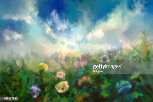 summer meadow, painting - impressionism stock illustrations