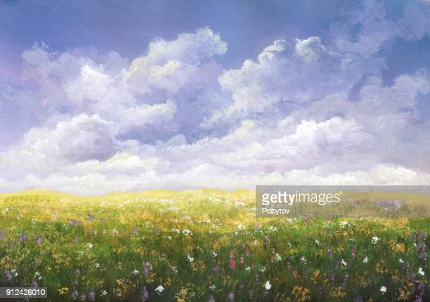 summer meadow, painting - cloud sky stock illustrations
