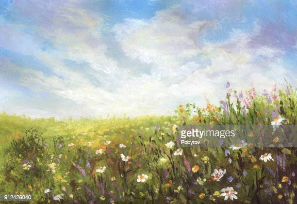 summer meadow, painting - painted image stock illustrations