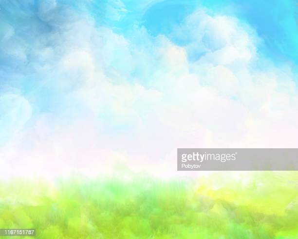 summer meadow, watercolor painting - springtime stock illustrations