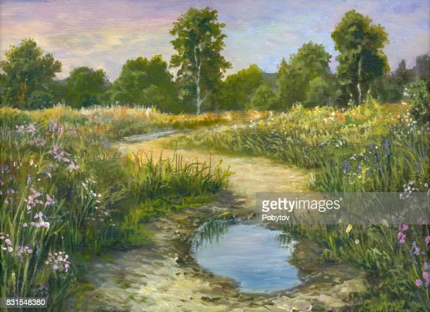 Summer oil painting landscape