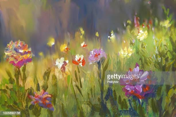 summer oil painting landscape, impressionism - impressionism stock illustrations