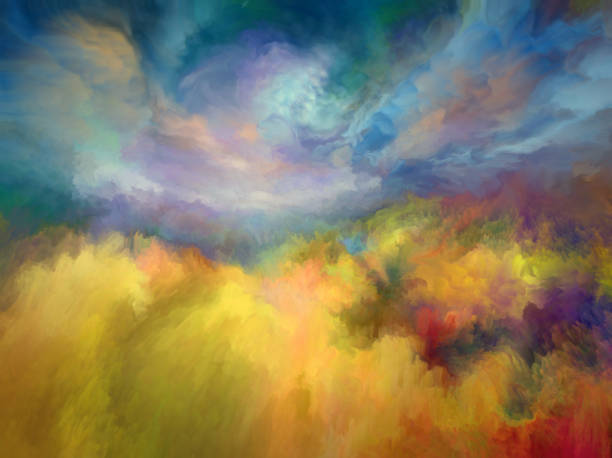 summer oil painting landscape, impressionism - fantasy stock illustrations