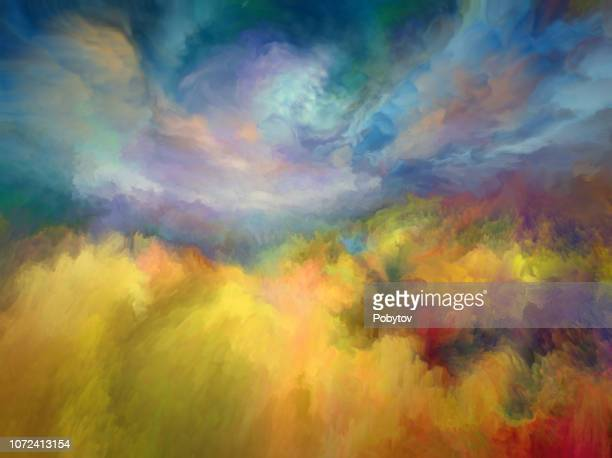 summer oil painting landscape, impressionism - art stock illustrations