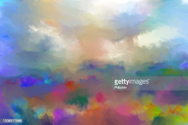 summer oil painting landscape, impressionism - oil painting stock illustrations