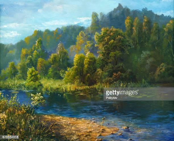 ilustraciones, imágenes clip art, dibujos animados e iconos de stock de río de verano, pintura al óleo - producto artístico