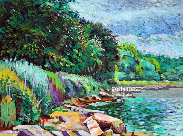 Summer shore of Hudson River, New York