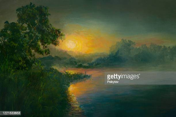 summer sunset on the river, oil painting - impressionism stock illustrations