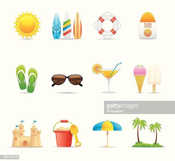 Summer Vacation & Beach Icon Set | Elegant Series