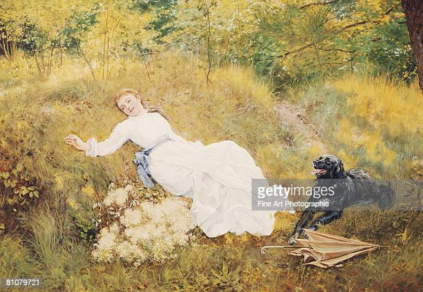 a summer's day - one young woman only stock illustrations