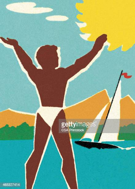 summertime at the lake - beach holiday stock illustrations, clip art, cartoons, & icons