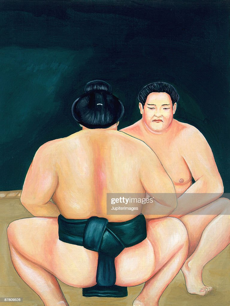 Sumo wrestlers ready to face-off : stock illustration