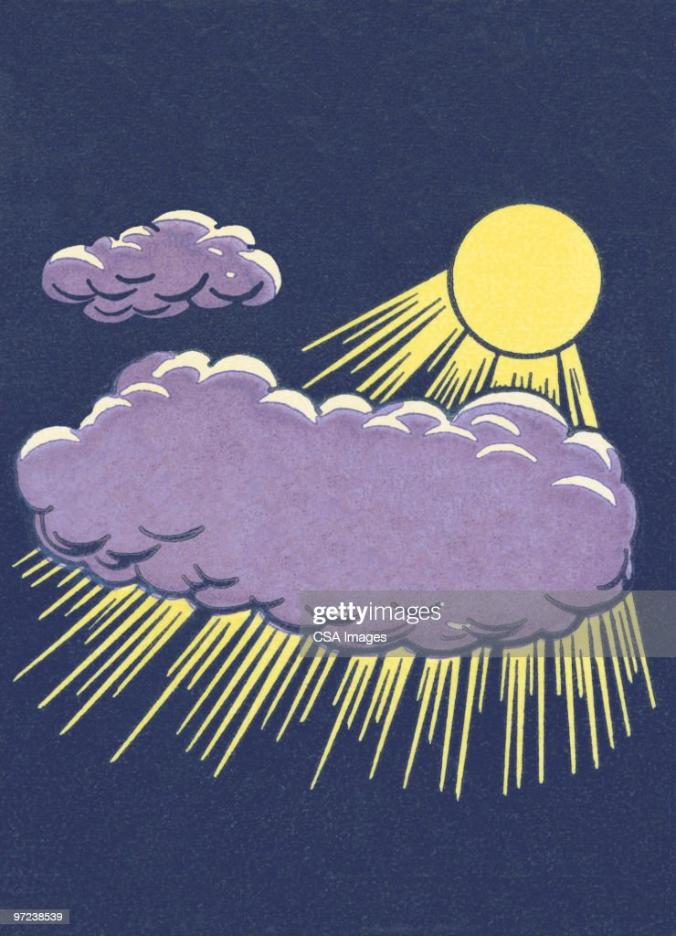 Sun and clouds : stock illustration
