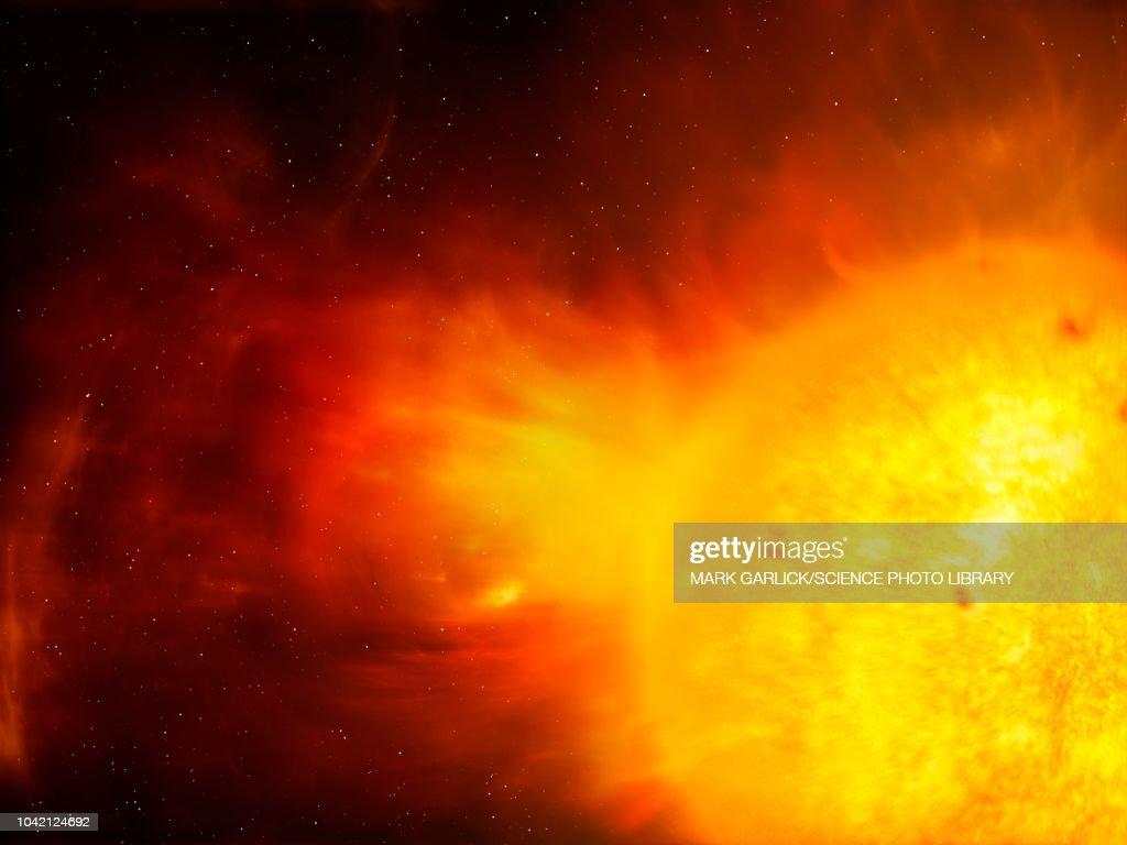 Sun and coronal mass ejection, illustration : stock illustration