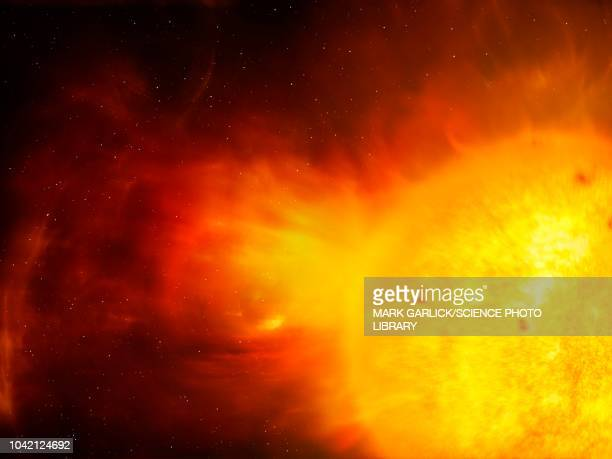 sun and coronal mass ejection, illustration - astronomy stock illustrations