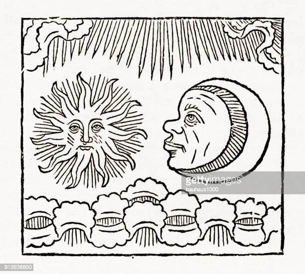 Zon en maan, kruisiging christelijke symboliek gravure