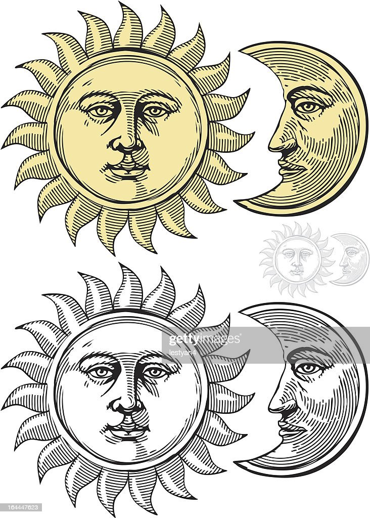 Sun and moon with faces