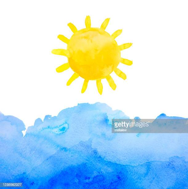sun and sea hand drawn and painted in watercolor on watercolor paper - stellalevi stock illustrations