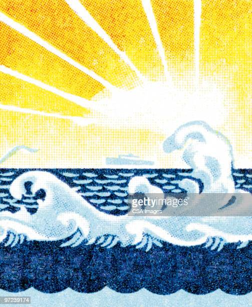 sun and waves - day stock illustrations
