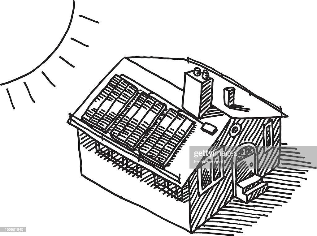 sun energy solar panel roof drawing stock illustration