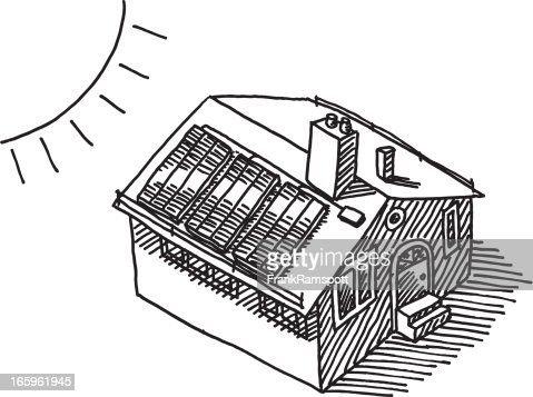 Sun Energy Solar Panel Roof Drawing Vector Art Getty Images