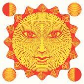 Sun face woodcut