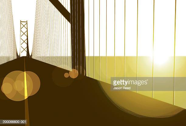 ilustraciones, imágenes clip art, dibujos animados e iconos de stock de sun glistening on suspension bridge - puente colgante