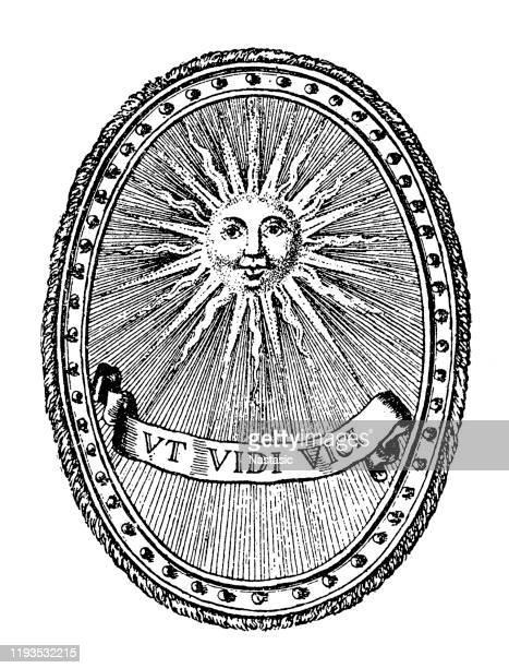 illustrazioni stock, clip art, cartoni animati e icone di tendenza di emblema del re sole di luigi xiv di francia - re nobile