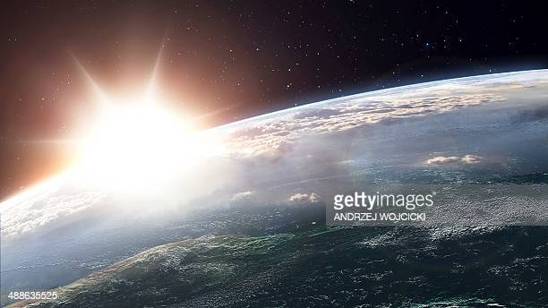 sun over earth, artwork - horizon stock illustrations, clip art, cartoons, & icons