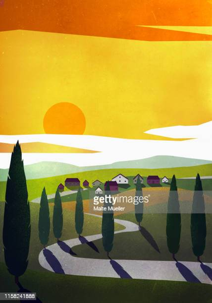 sun setting over idyllic rural community - silence stock illustrations