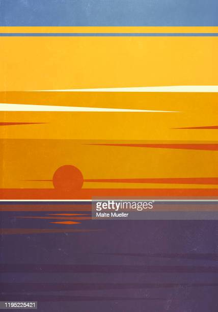 sun setting over tranquil ocean - silence stock illustrations